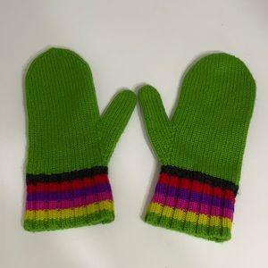 Kate Spade 100% wool Mitten Gloves Green Stripes